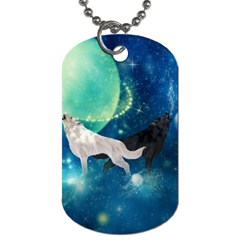 Awesome Black And White Wolf In The Universe Dog Tag (two Sides) by FantasyWorld7