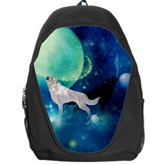 Awesome Black And White Wolf In The Universe Backpack Bag by FantasyWorld7
