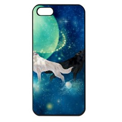 Awesome Black And White Wolf In The Universe Apple Iphone 5 Seamless Case (black)