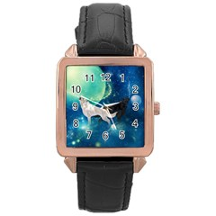 Awesome Black And White Wolf In The Universe Rose Gold Leather Watch