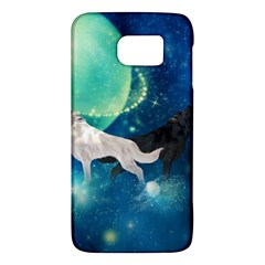 Awesome Black And White Wolf In The Universe Samsung Galaxy S6 Hardshell Case