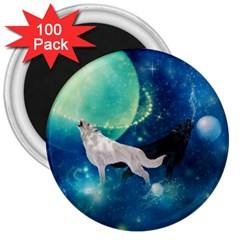 Awesome Black And White Wolf In The Universe 3  Magnets (100 Pack)