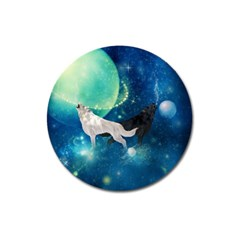 Awesome Black And White Wolf In The Universe Magnet 3  (round)