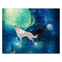 Awesome Black And White Wolf In The Universe Rectangular Jigsaw Puzzl