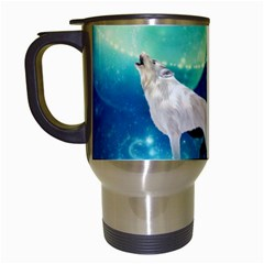 Awesome Black And White Wolf In The Universe Travel Mugs (white) by FantasyWorld7