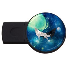Awesome Black And White Wolf In The Universe Usb Flash Drive Round (4 Gb)