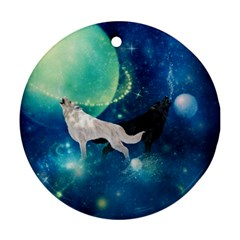 Awesome Black And White Wolf In The Universe Round Ornament (two Sides)