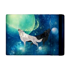 Awesome Black And White Wolf In The Universe Apple Ipad Mini Flip Case by FantasyWorld7