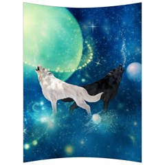 Awesome Black And White Wolf In The Universe Back Support Cushion by FantasyWorld7