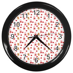 Cake Christmas Gingerbread Man Wallpapers Wall Clock (black)