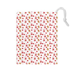 Cake Christmas Gingerbread Man Wallpapers Drawstring Pouch (large)