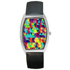 Bright Color Triangles Seamless Abstract Geometric Background Barrel Style Metal Watch