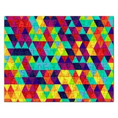 Bright Color Triangles Seamless Abstract Geometric Background Rectangular Jigsaw Puzzl by Alisyart