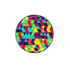 Bright Color Triangles Seamless Abstract Geometric Background Hat Clip Ball Marker
