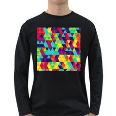 Bright Color Triangles Seamless Abstract Geometric Background Long Sleeve Dark T Shirt