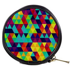 Bright Color Triangles Seamless Abstract Geometric Background Mini Makeup Bag