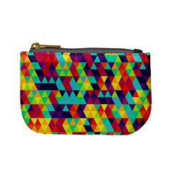Bright Color Triangles Seamless Abstract Geometric Background Mini Coin Purse