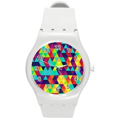 Bright Color Triangles Seamless Abstract Geometric Background Round Plastic Sport Watch (m)