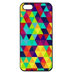 Bright Color Triangles Seamless Abstract Geometric Background Apple Iphone 5 Seamless Case (black)