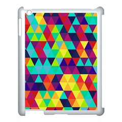 Bright Color Triangles Seamless Abstract Geometric Background Apple Ipad 3/4 Case (white)