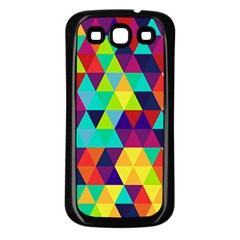 Bright Color Triangles Seamless Abstract Geometric Background Samsung Galaxy S3 Back Case (black)