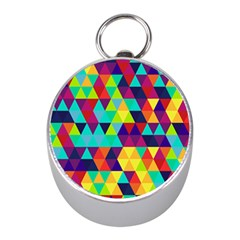 Bright Color Triangles Seamless Abstract Geometric Background Mini Silver Compasses by Alisyart