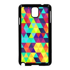 Bright Color Triangles Seamless Abstract Geometric Background Samsung Galaxy Note 3 Neo Hardshell Case (black)