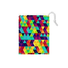 Bright Color Triangles Seamless Abstract Geometric Background Drawstring Pouch (small)