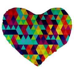 Bright Color Triangles Seamless Abstract Geometric Background Large 19  Premium Flano Heart Shape Cushions