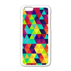 Bright Color Triangles Seamless Abstract Geometric Background Apple Iphone 6/6s White Enamel Case by Alisyart