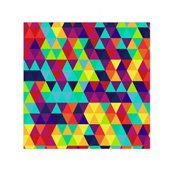 Bright Color Triangles Seamless Abstract Geometric Background Small Satin Scarf (square) by Alisyart