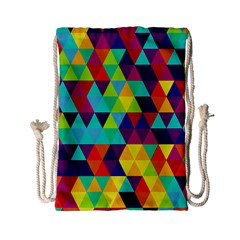 Bright Color Triangles Seamless Abstract Geometric Background Drawstring Bag (small) by Alisyart