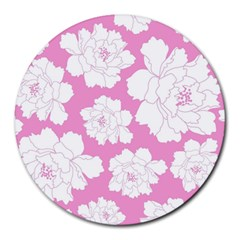 Beauty Flower Floral Pink Round Mousepads by Alisyart