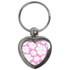 Beauty Flower Floral Pink Key Chains (heart)  by Alisyart