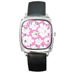 Beauty Flower Floral Pink Square Metal Watch by Alisyart