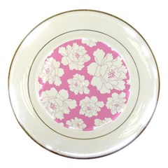 Beauty Flower Floral Pink Porcelain Plates by Alisyart
