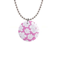 Beauty Flower Floral Pink Button Necklaces by Alisyart