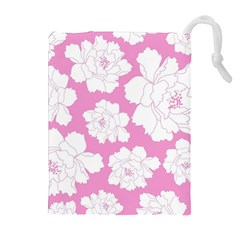 Beauty Flower Floral Pink Drawstring Pouch (xl)