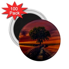 Wonderful Fantasy Sunset Wallpaper Tree 2 25  Magnets (100 Pack)  by Alisyart