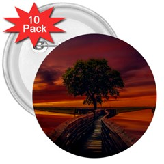 Wonderful Fantasy Sunset Wallpaper Tree 3  Buttons (10 Pack)