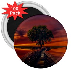 Wonderful Fantasy Sunset Wallpaper Tree 3  Magnets (100 Pack) by Alisyart
