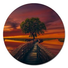 Wonderful Fantasy Sunset Wallpaper Tree Magnet 5  (round) by Alisyart