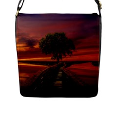 Wonderful Fantasy Sunset Wallpaper Tree Flap Closure Messenger Bag (l)