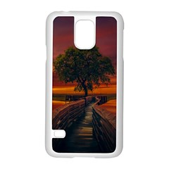 Wonderful Fantasy Sunset Wallpaper Tree Samsung Galaxy S5 Case (white)