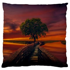 Wonderful Fantasy Sunset Wallpaper Tree Large Flano Cushion Case (two Sides)