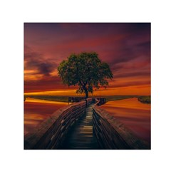 Wonderful Fantasy Sunset Wallpaper Tree Small Satin Scarf (square)