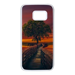 Wonderful Fantasy Sunset Wallpaper Tree Samsung Galaxy S7 White Seamless Case