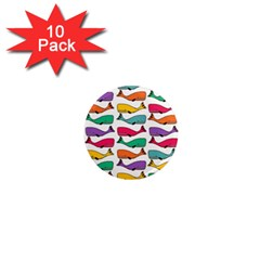 Fish Whale Cute Animals 1  Mini Magnet (10 Pack)  by Alisyart