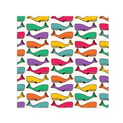 Fish Whale Cute Animals Small Satin Scarf (square)
