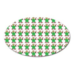 Gingerbread Men Seamless Green Background Oval Magnet by Alisyart